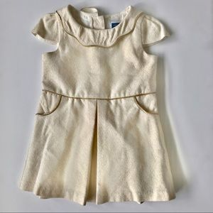 Janie and Jack Ivory Gold Shimmer Dress 12-18m